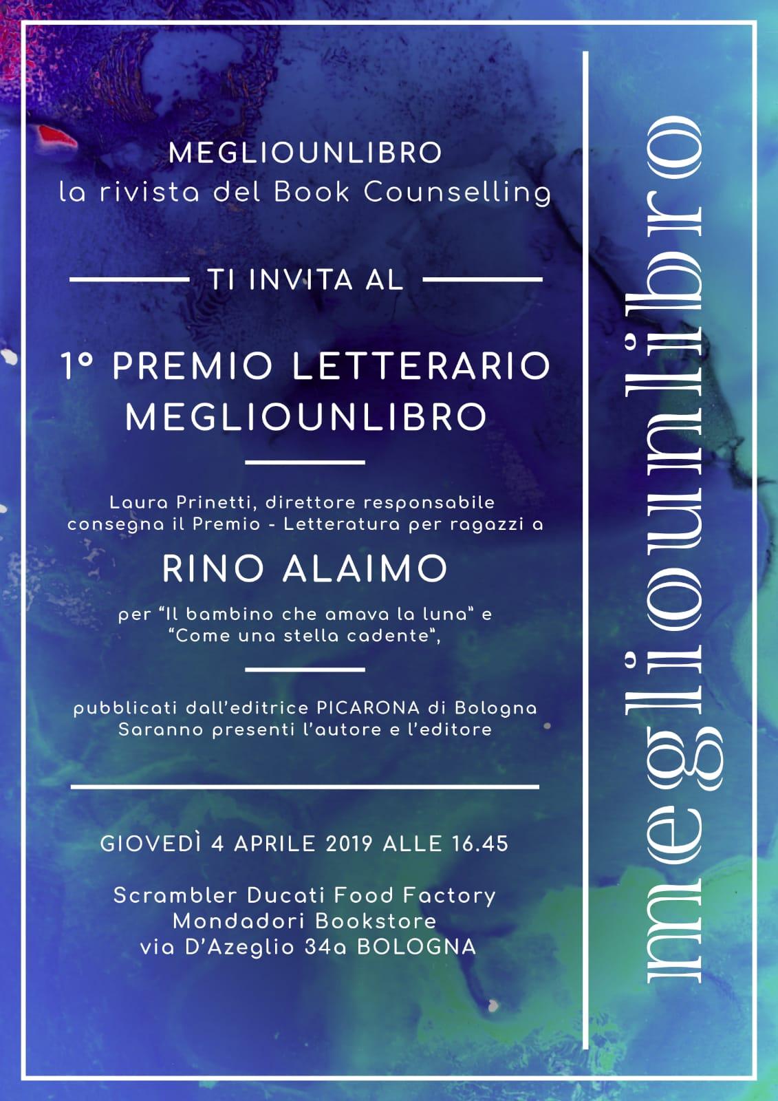 Megliounlibro - premio a Rino Alaimo 2019